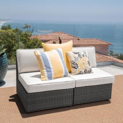 Nolan Grey Wicker Armless Middle Outdoor Sectional Chair with White Cushions (2-Pack)