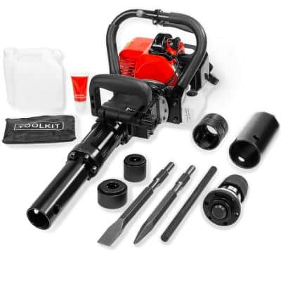 32.7 cc 2-in-1 Gas-Powered Jackhammer Demolition Hammer and T-Post Piling Pile Driver Tool Kit with Chisel Bits