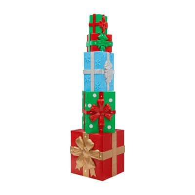 8 ft. Giant-Sized Christmas Gift Box with LED Lights Yard Sculpture