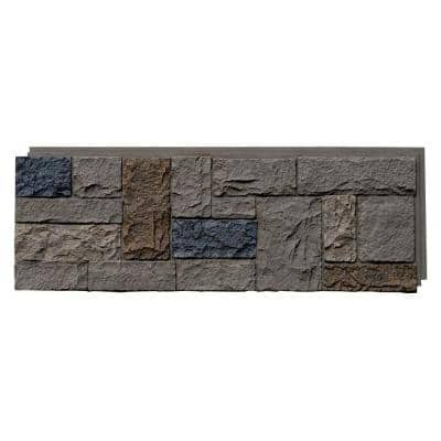 Castle Rock 43.25 in. x 15.25 in. Faux Stone Siding Panel in Tudor Gray (4-Pack)