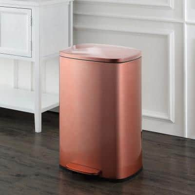 Connor 14 Gal. Rose Gold Rectangular Trash Can with Soft-Close Lid and Free Mini Trash Can