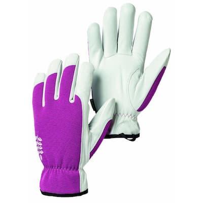 Kobolt Garden Size 7 Small Versatile and Flexible Goatskin Leather Gloves in Fuschia/White