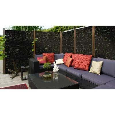 3 ft. x 5 ft. Black Ripples Decorative Privacy and Fence Panel