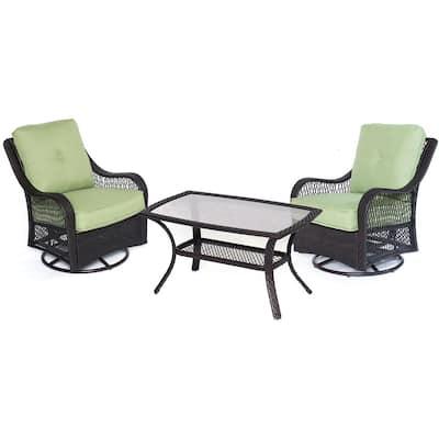 Merritt 3-Piece Metal Outdoor Conversation Chat Set with Green Cushions