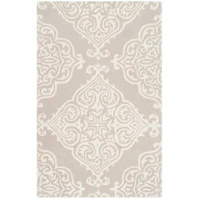 Glamour Silver/Ivory 2 ft. x 3 ft. Floral Area Rug