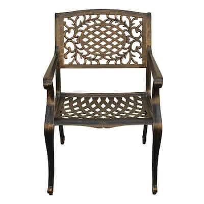 Ornate Traditional Mesh Lattice Bronze Aluminum Outdoor Dining Chair