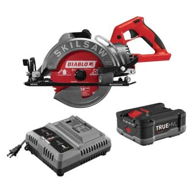 TRUEHVL 48-Volt Cordless 7-1/4 in. Worm Drive Saw Kit with TRUEHVL Battery and Diablo Blade