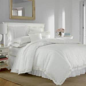 Annabella 3-Piece White Solid T150 Cotton King Duvet Cover Set