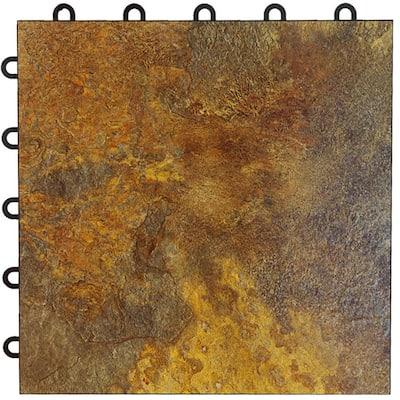 Max Tile 12 in. W x 12 in. L Slate Waterproof Interlocking Modular Basement Vinyl Floor Tiles (20 sq. ft. 20-Pack)