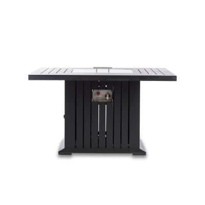 Maxwell 43 in. x 43 in. x 24 in. Square Aluminum Propane Black Fire Pit Table with Cover