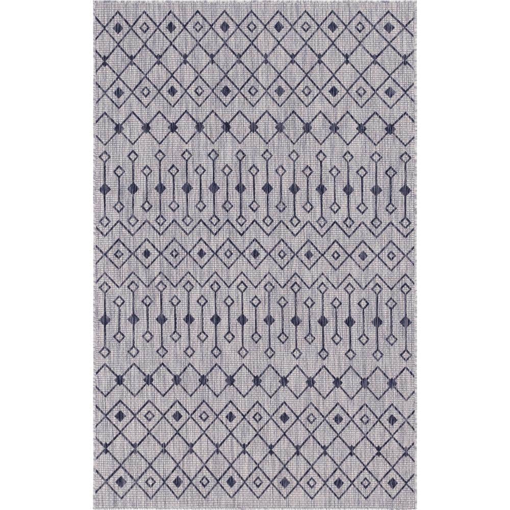 Unique Loom Gray Charcoal Tribal Trellis Outdoor 9 Ft X 12 Ft Area Rug 3145033 The Home Depot