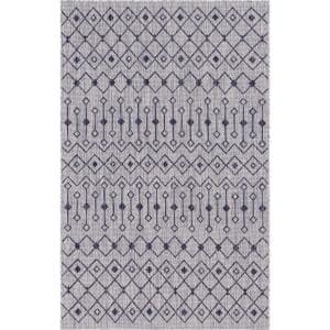 Unique Loom Gray Teal Tribal Trellis Outdoor 7 Ft X 10 Ft Area Rug 3145051 The Home Depot