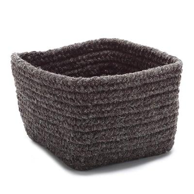 Natural 11 in. x 11 in. x 8 in. Wool Storage Basket in LightBeige