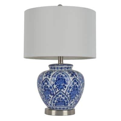 20 in. Blue and White Table Lamp with Cotton Shade