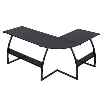 Full Black 58.3 in. L-Shaped Deep Computer Desk L-Shaped and Corner Desk Workstation Study Gaming Table with Metal Frame