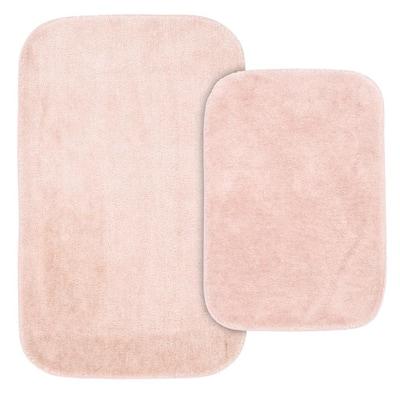 Traditional Blush 21 in. x 34 in. Plush Nylon 2-Piece Bath Mat Set