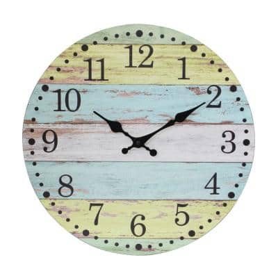 Light Blue and Worn Yellow Vintage Farmhouse 14 Inch Round Hanging Battery Operated Wall Clock