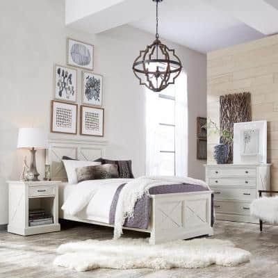 Seaside Lodge 3-Piece Hand Rubbed White King Bedroom Set