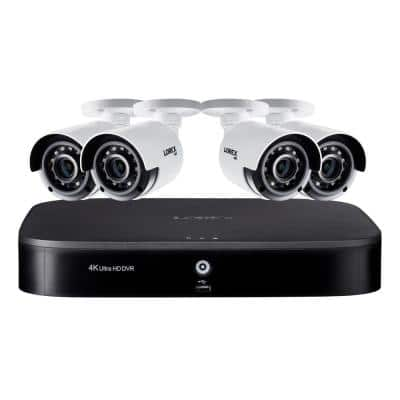 8 Channel 4K Ultra HD DVR Surveillance System with 2TB HDD and 4 x 4K Wired Cameras with Color Night Vision