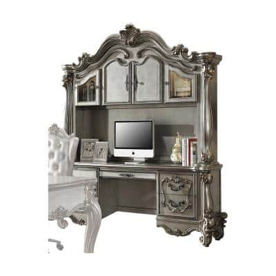 Amelia 21 in. W Rectangular Antique Platinum Wood Poly Resin Glass Computer Desk and Hutch