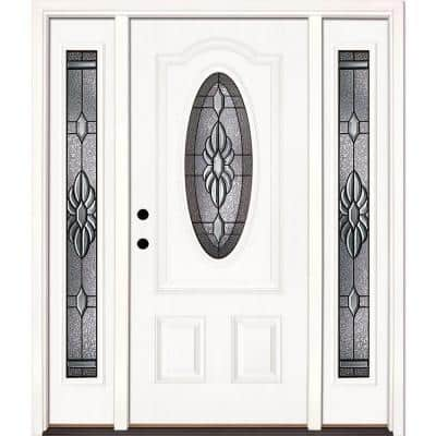 67.5 in.x81.625 in. Sapphire Patina 3/4 Oval Lt Unfinished Smooth Right-Hand Fiberglass Prehung Front Door w/ Sidelites