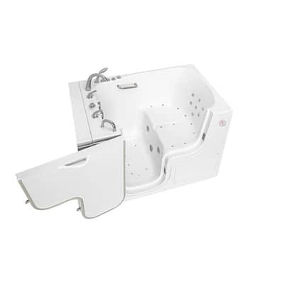 Wheelchair TransferXXXL 55 in. Walk-In Whirlpool and Air Bath Bathtub in White, Faucet Set, Heated Seat, LHS Dual Drain
