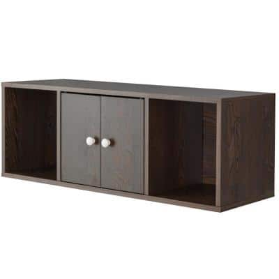 Brown Wall Mounted Computer Cabinet Floating Hutch