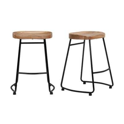 Black Metal Backless Counter Stool with Wood Seat (Set of 2) (18.5 in. W x 24 in. H)
