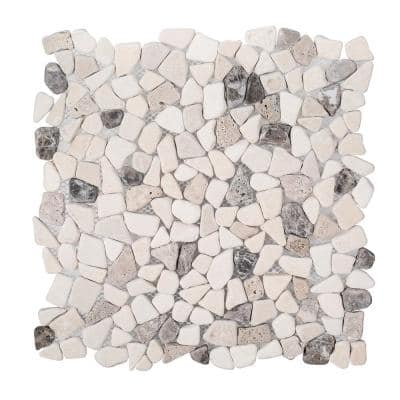 River Rock Medley 11.5 in. x 11.5 in. Cream Travertine/ Cream and Brown Marble Wall and Floor Mosaic Tile