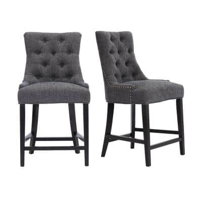 Bakerford Ebony Wood Upholstered Counter Stool with Back and Charcoal Seat (Set of 2) (21.85 in. W x 40.55 in. H)