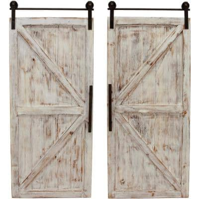 34 in. x 14 in. Carriage House Barn Door Wooden Wall Plaque Set