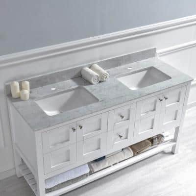 Basildon 61 in. W x 22 in. D Double Basin Carrara Marble Vanity Top in Carrara White with White Vitreous China Basins