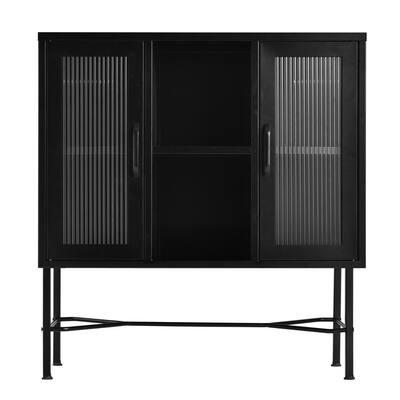 Richer Black Metal 2-Door Accent Storage Cabinet