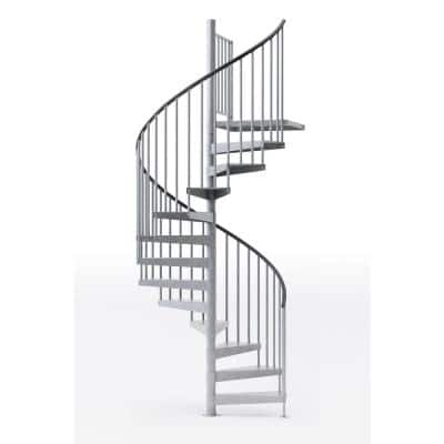 Reroute Galvanized Exterior 60in Diameter, Fits Height 136in - 152in, 1 36in Tall Platform Rail Spiral Staircase Kit