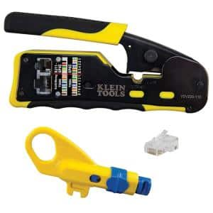 Ratcheting Pass-Thru Modular Crimper, Combination Radial Stripper, and CAT6 Pass-Thru Connectors (20-Pack)