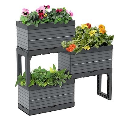 FlexSpace 22 in. x 11 in. x 13 in. Gray Resin Modular Raised Garden Bed