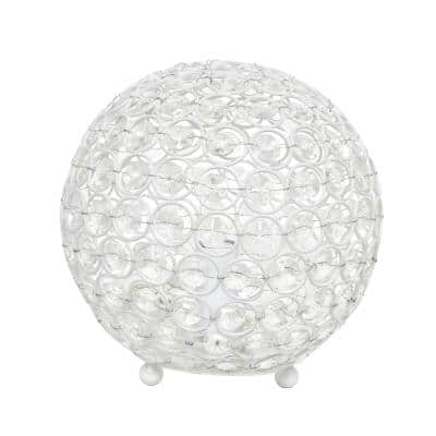 8 in. White Crystal Ball Sequin Table Lamp