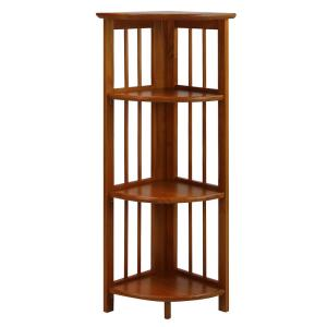 38.75 in. H Honey Oak New Finish Solid Wood 4-Shelf Corner Etagere Bookcase