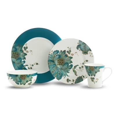 Eliza 16-Piece Casual Teal Porcelain Dinnerware Set (Service for 4)