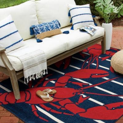 Patio Brights Sapphire/Snow 8 ft. x 10 ft. Lively Lobsters Polypropylene Indoor/Outdoor Area Rug