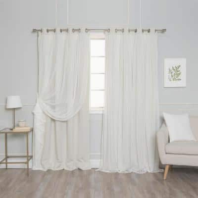 Ivory Grommet Overlay Blackout Curtain - 52 in. W x 96 in. L  (Set of 2)