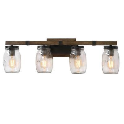 Industrial 4-Light Dark Bronze Vanity Light Wall Mount with Clear Mason Jar Glass Sconce