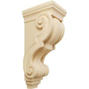 6-3/4 in. x 5 in. x 14 in. Unfinished Wood Maple Large Traditional Wood Corbel