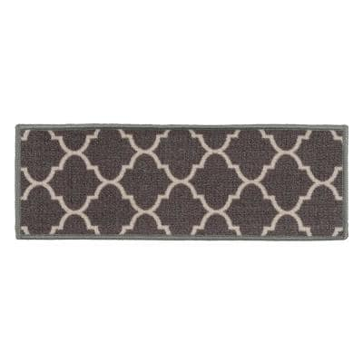 "Contemporary Modern Moroccan Non-Slip Stair Treads 8.6"" x 26"" Gray (Set of 4)"