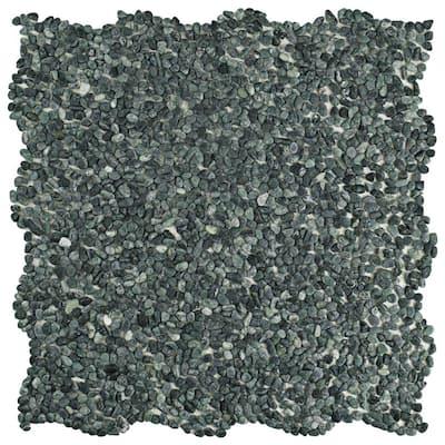 Take Home Tile Sample - Pebblini Mini Seaweed Green 6 in. x 6 in. Natural Stone Mosaic