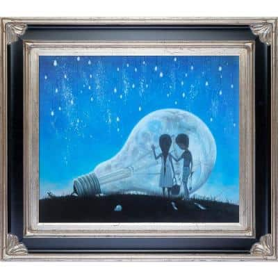 """""""The Night We Broke The Moon Reproduction with Corinthian Aged Silver Frame"""" by Adrian Borda Canvas Print"""