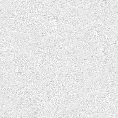 Textured White Abstract Vinyl Pre-Pasted Paintable Wallpaper Roll (Covers 56 Sq. Ft.)