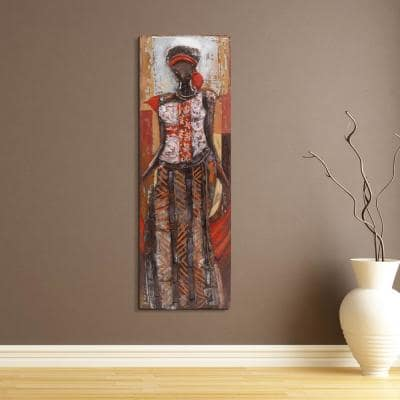 """60 in. x 20 in. """"Elegance"""" Mixed Media Iron Hand Painted Dimensional Wall Art"""