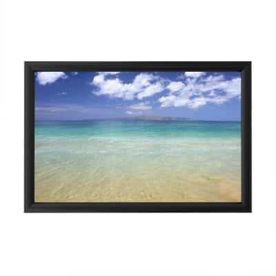 """""""Hawaii Blue Beach"""" by Pierre Leclerc Framed with LED Light Landscape Wall Art 16 in. x 24 in."""