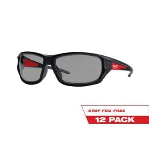 Performance Safety Glasses with Gray Fog-Free Lenses (12-Pack)